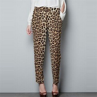 Spring Autumn Leopard Printing Soft Women Harem Pants Fashion Casual Comfortable Lady Pants Loose Drawstring Female