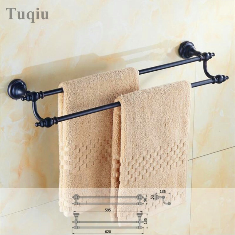 Free Shipping High Quality Black antique wall mounted  Double Towel Bar 60 cm Towel Holder Bathroom free shipping wall mounted dark antique copperr door stopper for interior doors door holders for sale high suction 360g