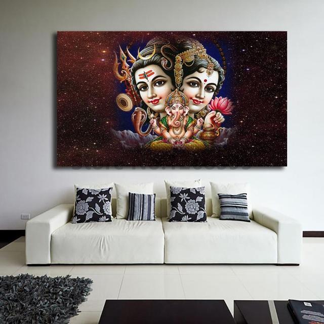 Lord Shiva Parvati Ganesha Animated Wallpaper Canvas Posters Prints