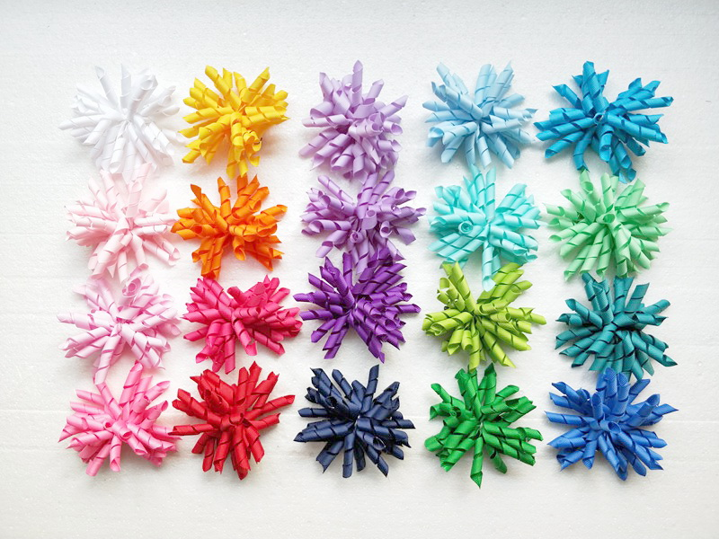 100pcs Girl Corker hair bows clips accessories korker Ponytail holder curly tassel ribbons Barrettes elastic ties