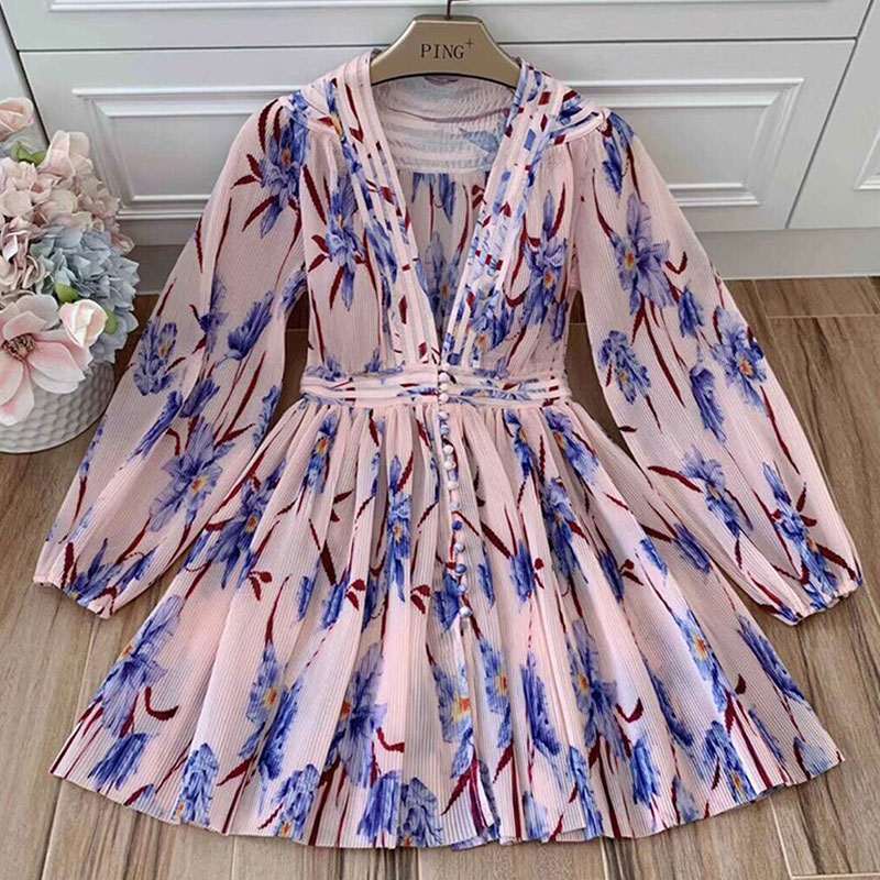 Red RoosaRosee Summer Vintage 2019 Sexy Deep V Neck Long Floral Print Mini Holiday Dress Women