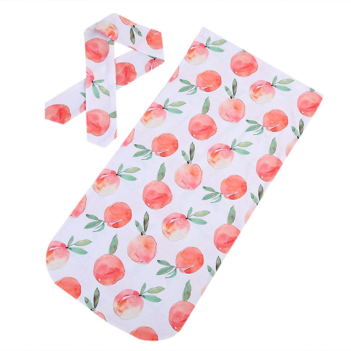 Newborn Infant Baby Cute Swaddle Blanket Baby Comfortable Sleeping Swaddle Muslin Wrap Headband