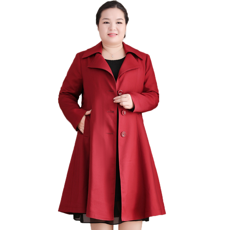 Large Size 10XL Women Long   Trench   Coat 2019 Autumn Windbreaker Mother 200 Pounds Loose Casual Oversize Outwear LP102