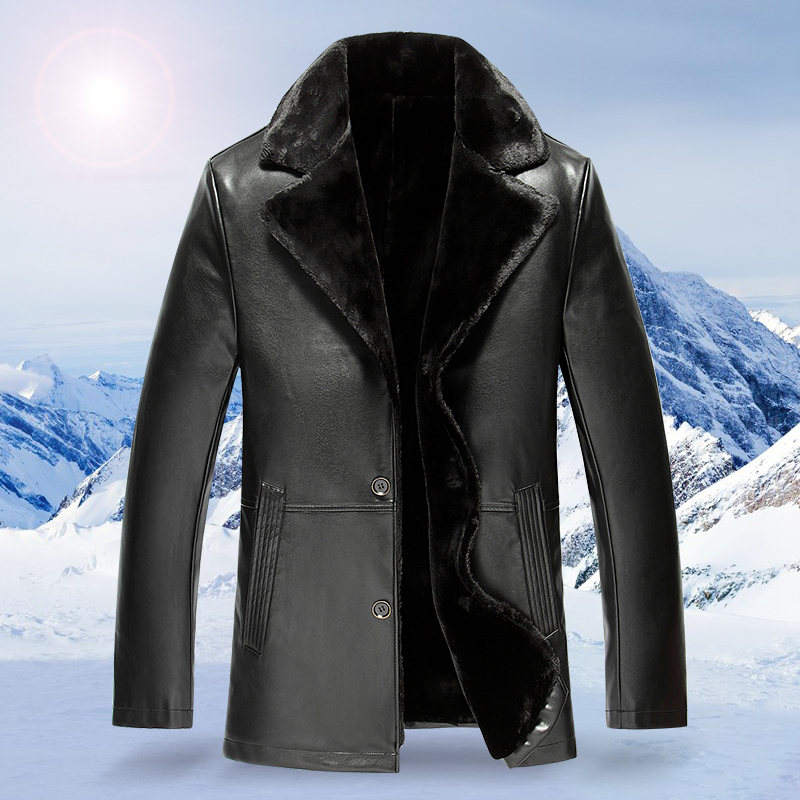 2017 Winter Brand New Leather Thick Warm Wool Liner Men'S Suede Lambskin Leather Coat Winter Leather Jacket For Men plus size
