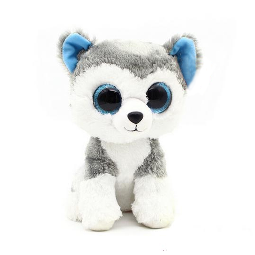 1pc18cm Hot Sale Ty Beanie Boos Big Eyes Husky Dog Plush Toy Doll Stuffed Animal Cute Plush Toy Kids Toy Birthday Gift ty collection beanie boos kids plush toys big eyes slick brown fox lovely children gifts kawaii stuffed animals dolls cute toys