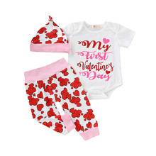 26ec8d6dd8e 2019 FASHION Newborn Baby Boy Girl Outfits Cotton Baby Valentines Outfit  Letter Print Romper+Pants