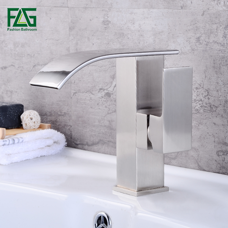 FLG Waterfall Multi-color Basin Faucet Single Handle Cold and Hot Basin Mixer Tap Bath Bathroom Vanity Wash Torneira Banheiro micoe hot and cold water basin faucet mixer single handle single hole modern style chrome tap square multi function m hc203