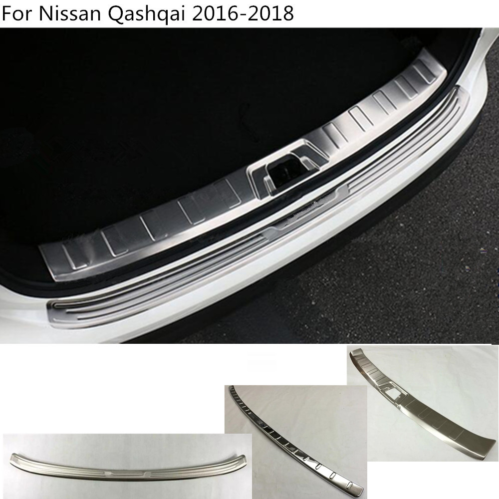 Car body protect Rear inner Bumper outside tailgate pedal Strip trim plate lamp threshold For Nissan Qashqai 2016 2017 2018 high quality for qashqai 2016 car body styling cover detector abs chrome rear door bottom tailgate frame plate trim lamp 1pcs