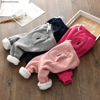 2017 Winter Autumn Children Elastic Pants For Girls Embroidery Pants Kids Fleece Pants 90 130cm High