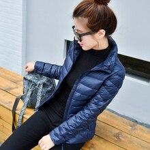Ультра легкий женский пуховик, плюс размер 4XL, зимнее Короткое женское пальто со стоячим воротником, куртки, повседневный пуховик для девушек GQ1547