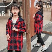 Пальто для девочек модное пальто средней длины на молнии с капюшоном и длинными рукавами для детей от 4 до 14 лет весенне-осенняя ветровка в клетку, куртки для девочек