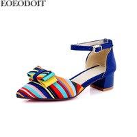 EOEODOIT Multicolor Shoes Women 2018 Spring Summer Pumps Med Heel Square Heel Pointed Toe 4 CM