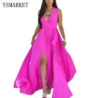 Summer Chiffon Tunic Beach Dress Plus Size Women Solid Fluorescent Color Maxi Dress 2017 Female High