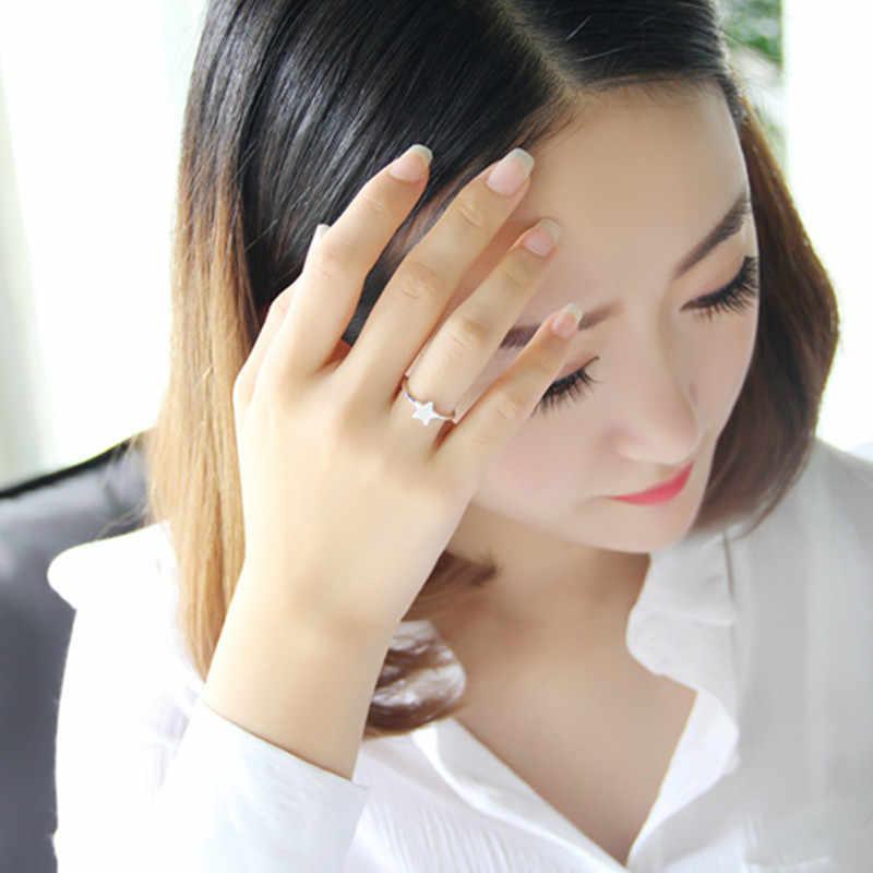 925 Серебряное горячее новое кольцо из стерлингового серебра 925 пробы с геометрическим рисунком пятиконечная звезда Открытое кольцо корейский темперамент модное темпераментное кольцо