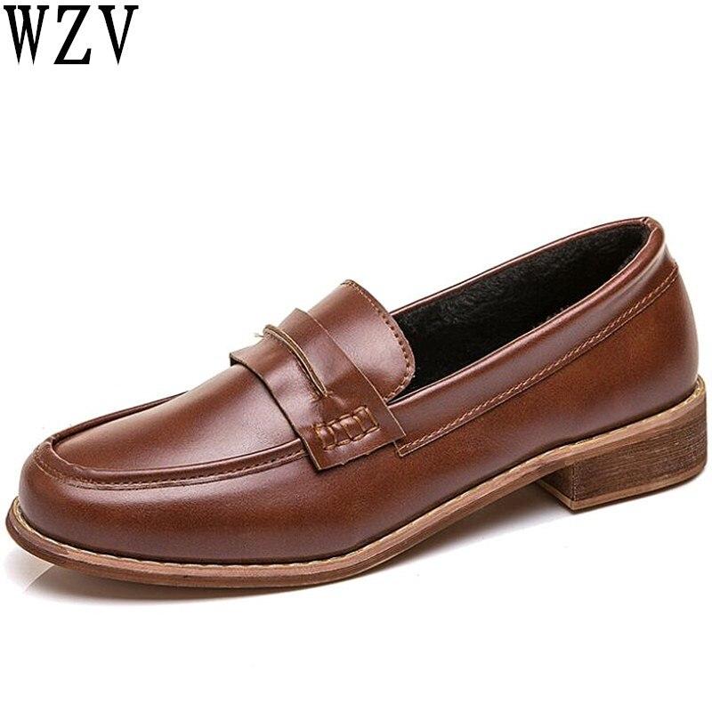 Femenina Mujer Cuero marrón Otoño Moda Grueso K756 Tacón Casuales Negro De Nuevas Calzado Zapatos Bajo 2019 Las Mujeres Plataforma Planos 4xABgqa8wP