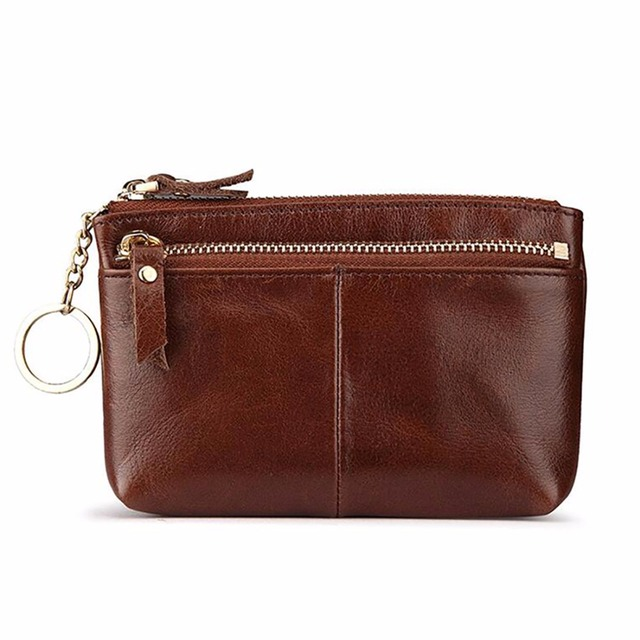 Vintage Trends Women Small Wallet Made Of Oil Wax Genuine Leather Clutch Bag Handbag ID/Credit Card Short Purse KeyChain Holder