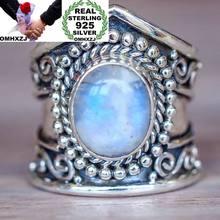 OMHXZJ europea al por mayor moda mujer hombre fiesta regalo de boda Vintage plata piedra de ágata negro turquesa Taiyin anillo RR323