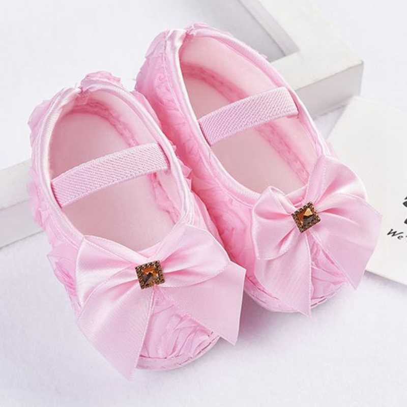 2019 Baby Girl Shoes Toddler Kid Baby Girl Rose Bowknot Elastic Band Newborn Walking Shoes Soft Sole Sneakers First Walker @35