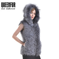 QUEENFUR Genuine Silver Fox Fur Vest Size S 6XL Female Fashion Real Fox Fur Sleeveless Vest 2017 Hooded Fur Women Winter Coat
