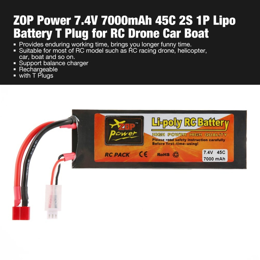 ZOP Power 7.4V 7000mAh 45C 2S 1P Lipo Battery T Plug Rechargeable for RC Racing Drone Quadcopter Helicopter Car Boat Model image