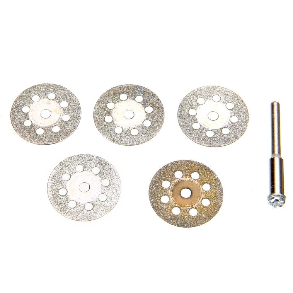 6pcs Silver Diamond Coating Cut Off Wheel Disc 22mm + Mandrel For Metal Stone Wood Plastic Cutting
