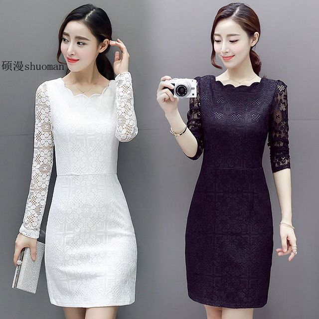 2ac094c5b7572 US $19.98 |Pink Blue Black White Lace Dress Spring Summer Elegant Ladies  Office Dress Long Sleeve Hollow Out Sexy Midi Dress Women-in Dresses from  ...