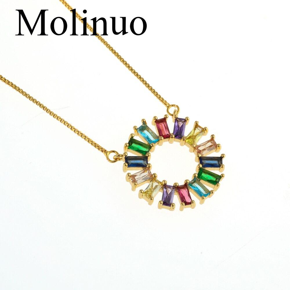Molinuo CZ  Rainbow Circle Necklace Women Long Chain Zirconia Stone Jewelry Gold Pendant 2019
