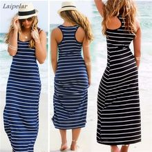 Vestidos Women Summer dress Casual Maxi vestido de renda Long Dress Beach Stripped sleeveless dresses women beach Laipelar
