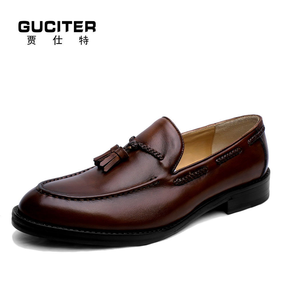 100% Genuine Calf Leather Loafer shoes Slip-On mens shoes Genuine leather Penny Loafer Tassels handmade shoes Mans Flats Shoe coin purse sergio belotti 1022 west black