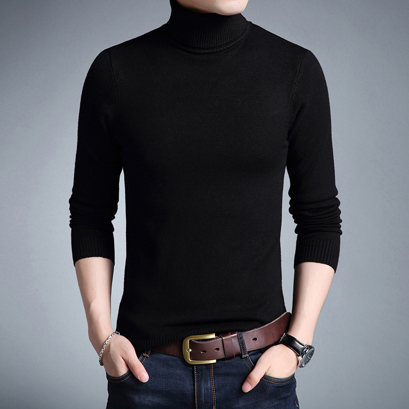 Turtleneck Sweater Jumpers Pull Slim-Fit Homme Knitred Autumn Men Casual Fashion Brand-New
