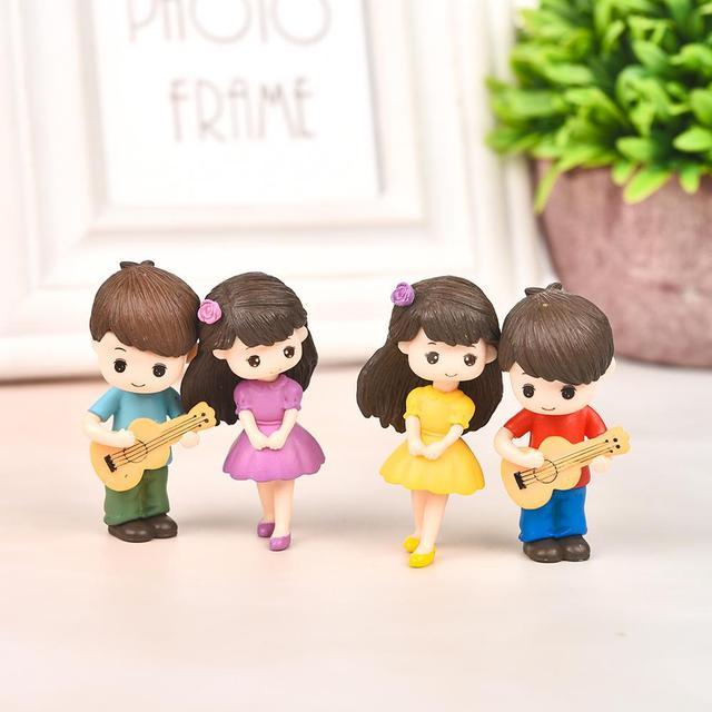 2pcs/Set New Arrival  Moon Couple PVC Romantic Figurines Craft Decorative Ornaments For Bonsai Home Table Decoration 2