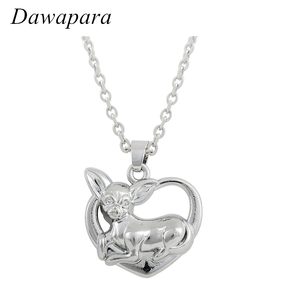Dawapara Lovely Chihuahua Dog Animal Pendant Necklaces Link Chain Hollow Heart Shape Charms Trendy Jewelry for Women
