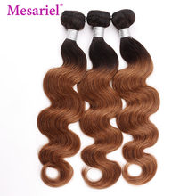 Mesariel Hair 1/3/4 Bundles Ombre Peruvian Body Wave Bundles Hair Two Tone 1b 30 100% Non-Remy Human Hair Extensions(China)