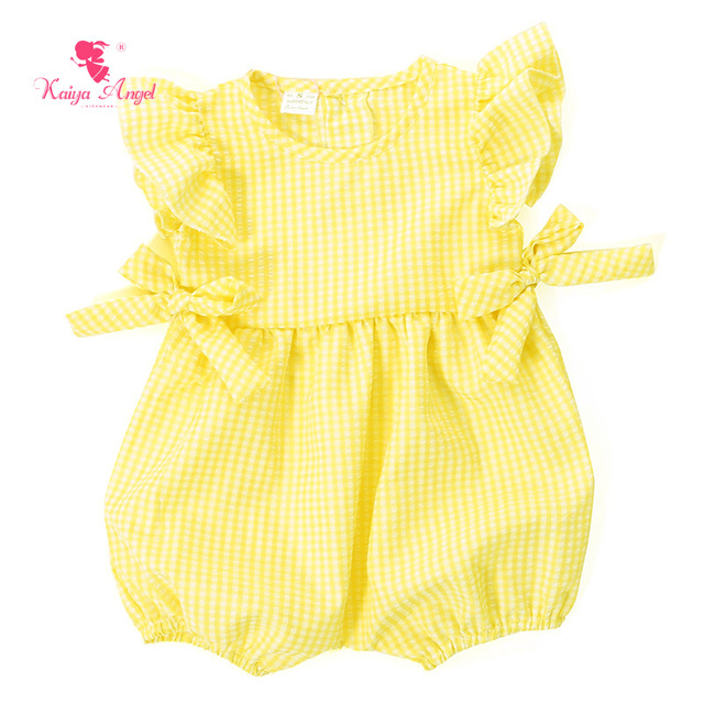 Kaiya Angel Baby Clothes Yellow Plaid Baby Girls Rompers Summer 0