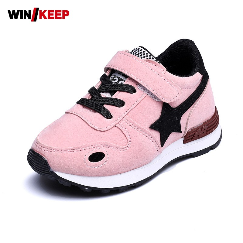 New Autumn Children Comfortable Sport <font><b>Shoes</b></font> Anti Slip For Kids Breathable Sneakers For Girls Running <font><b>Shoes</b></font> Round Toe Pink Black