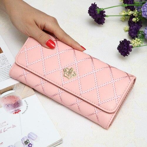 2016 Neue Elegante Geometrie Plaid Frauen Brieftasche Marke Designer Rosa Damen Brieftasche Nette Frauen Lange Brieftasche Cartera Mujer