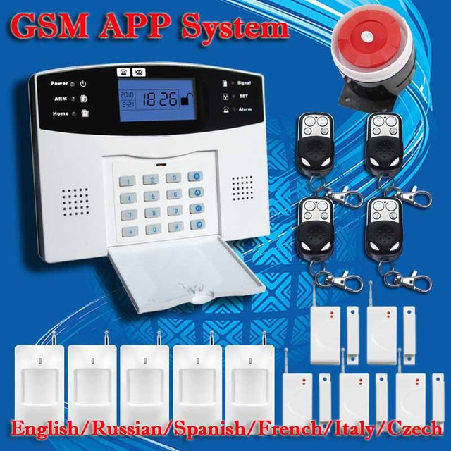 !English Russian Spanish French Voice Wireless GSM Alarm system Home security Alarm systems LCD Keyboard Pet Sensor