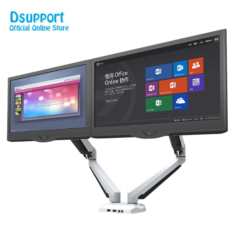 Aluminum Alloy Desktop 15-27 Dual Monitor Holder Full Motion Computer Mount Arm Loading 0-8kgs Each Head GM224U