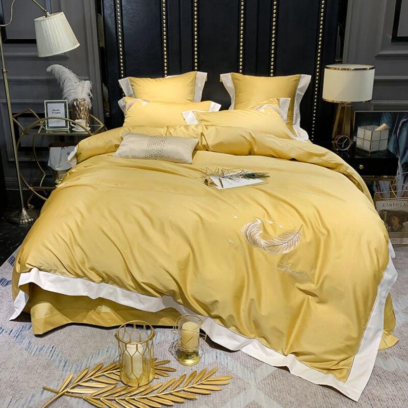600tc 이집트 코튼 솔리드 컬러 자수 럭셔리 웨딩 침구 세트 킹 퀸 사이즈 듀벳 커버 베개 커버 침대 시트 4/6 pcs # s-에서침구 세트부터 홈 & 가든 의  그룹 1