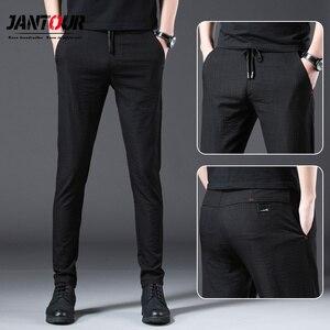Image 1 - Jantour 2020 Mode Männer Hosen Slim Fit Frühling sommer Hohe Qualität Business Flache Klassische Voller Länge dünne Casual Hosen männlichen