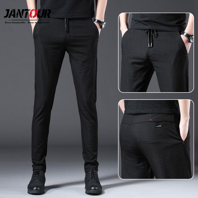 Jantour 2020 ファッション男性パンツスリムフィット春夏高品質ビジネスフラット全身薄型カジュアルズボン男性