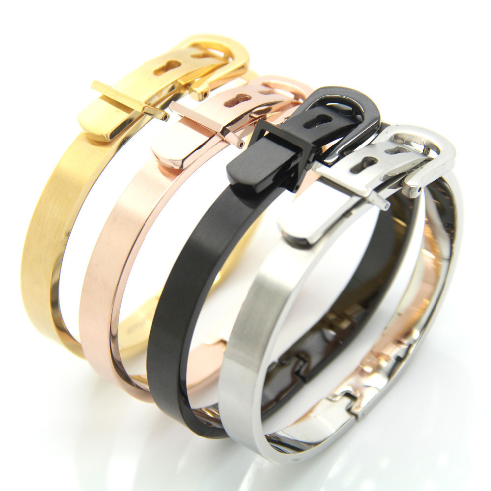 New Fashion Uni Adjule Belt Buckle Bracelets Bangles 316l Stainless Steel Best Gift For Women In Chain Link From Jewelry