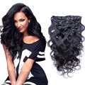 Remy Clip In Body Wave Human Hair Extensions 7Pcs 70g-120g Dark Color #1B Clip In Virgin Brazilian Wavy Hair
