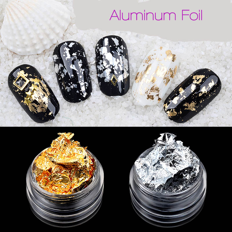 Box Gold Silver Aluminum Foil Paper Nail Art Sticker 3D Glitters DIY Manicure UV Gel Polish Nail Decoration  Accessory New Gift rose gold silver black nail beads caviar studs multi size diy 3d nail art uv gel lacquer decoration in wheel manicure accessorie