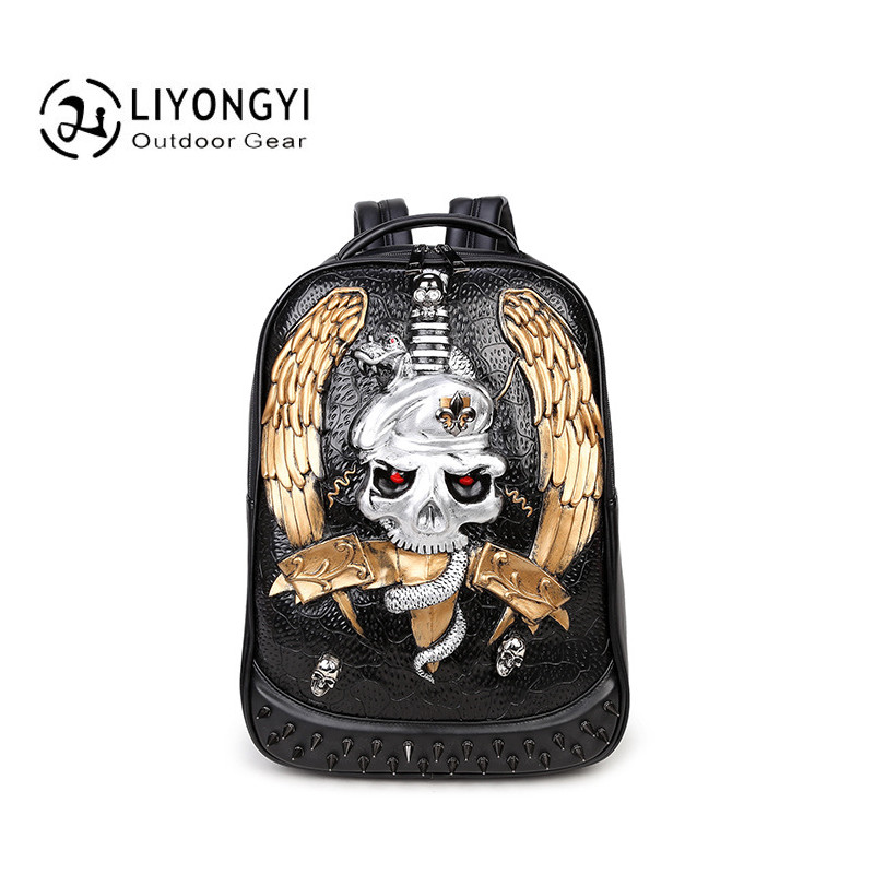 3D Skull Casual Men's Backpacks for Laptop Travel Bag Black PU Leather Men Fashion Shoulder Bags For Teenagers Boys School Bags senkey style fashion genuine leather backpacks bag for men women shoulder bag teenagers casual travel school bags laptop mochila
