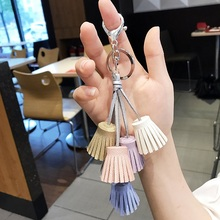 2019 New Fashion Women Casual Triple Leather Tassels Women Keychain Bag Pendant Alloy Car Key Chain Ring Holder Trendy Jewelry new fashion women heart rhinestone keychain pendant car key chain ring holder jewelry exquisite gifts m23