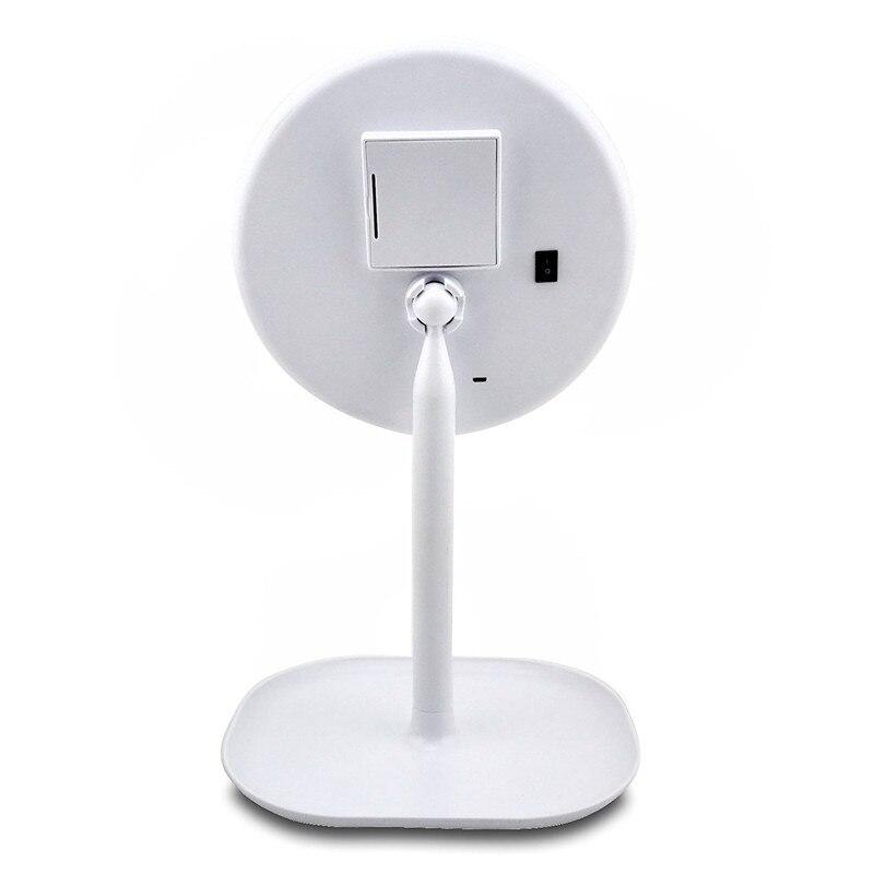Минч светодиодный Макияж зеркало Двусторонняя вращающийся круговой USB освещенное зеркало Сенсорный экран Портативный Белый Настольная ла...