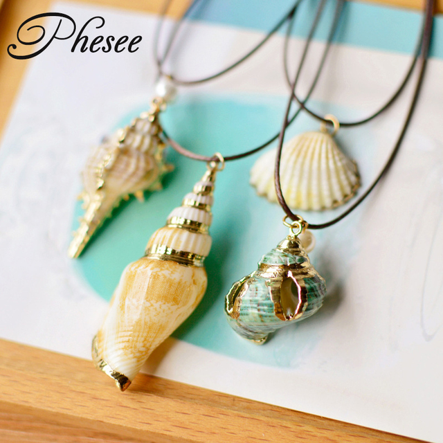 Phesee Mode 4 Style Or Couleur Naturel Conque Coquillage Pendentif et  Collier Corde Chaîne Colliers Bijoux