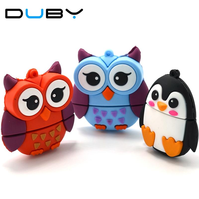 DUBY Pen Drive Cute Penguin Owl Fox Pen Drive 4GB 8GB 16GB 32gb 64GB Animal U Disk Animal Memory Stick Gift Pendrives