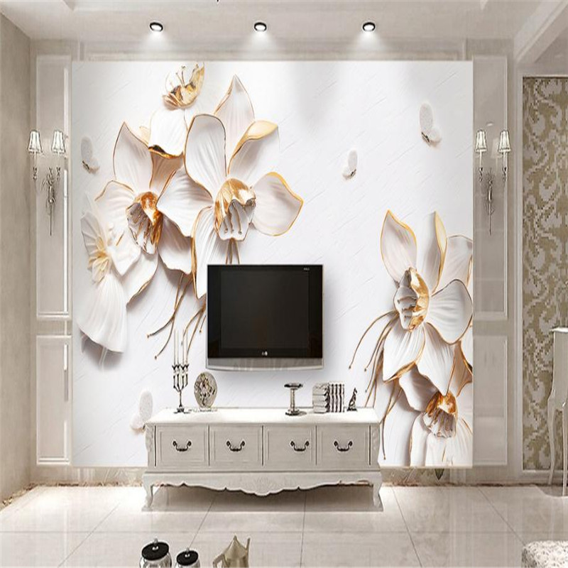 3D Custom Flowers Wall Murals Modern Luxury Photo Wallpapers Stereoscopic Relief for Living Room TV Background Walls Home Decor custom 3d mural wallpaper european style painting stereoscopic relief jade living room tv backdrop bedroom photo wall paper 3d